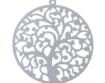 "10 stainless steel pendant ""Tree"", 43x40mm"