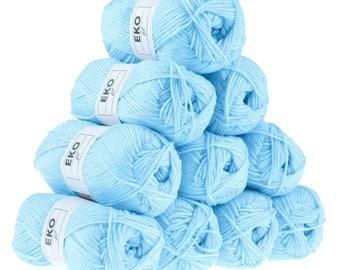 10 x 50 g knitting wool EKO FIL, #291 porcelain blue
