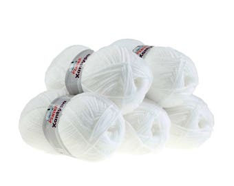 5 x 100 g yarn Orla #450 white knitting wool, wool, hand Knitting yarn