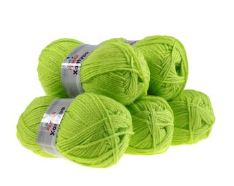 5 x 100 g yarn Orla #471 lime, knitting wool, wool, hand Knitting yarn