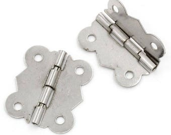 30 hinges for boxes, caskets, chests 3 x 2,6 cm, silver
