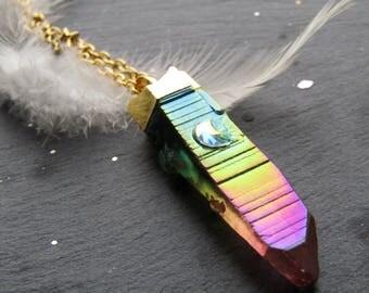 Stalactite Rainbow Aura Quartz Necklace with Moon, Aura Quartz Necklace, Rainbow Aura Necklace, Quartz Necklace, Rainbow Stone Necklace