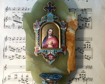 Antique French Champleve Enamel Hand Painted Porcelain Green Onyx Holy Water Font Sacred Heart Jesus c1880