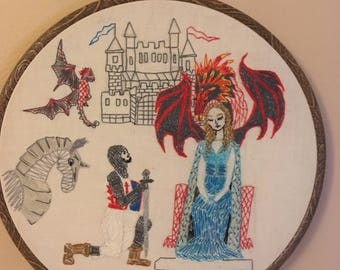 Dragon art, Game of thrones style, hand stitched, wall art, embroidery, Dragon Queen, Knight, Castles, Medieval art, Throne, Knights horse