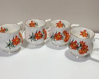 Elizabethan English Coffee Cup bone china Saskatchewan prairie lily set of 4