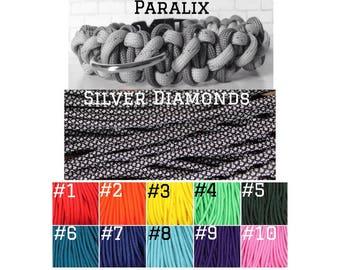 CUSTOM PARALIX PARACORD Silver Diamonds + Solid Color  – Pet Collar