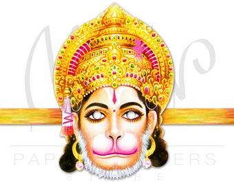Hanuman mask Printable. Hanuman. Lord Hanuman. Indian Gods. Indian mask. Indian Gods costume. Indian party. Hanuman art. Hanuman Jayanti.