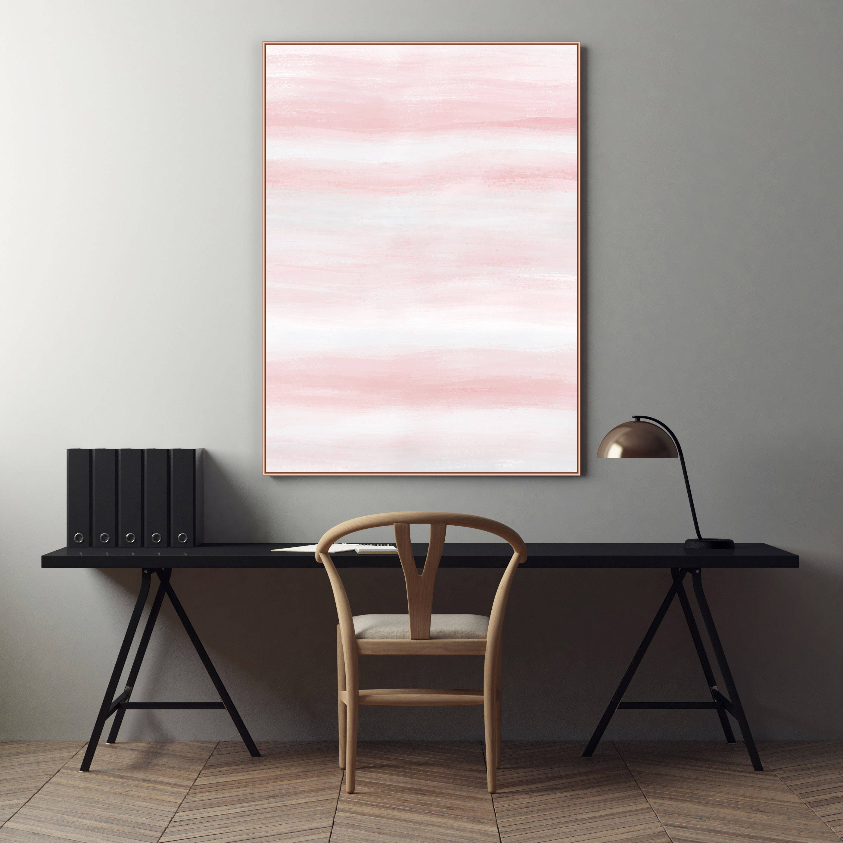 Blush Pink and Pale Grey Abstract Painting Serene Art Print