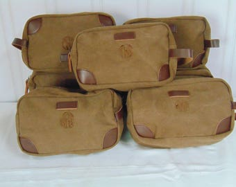 Groomsmen Toiletry Bag-Wow!- Includes Monogram at this price-Groomsmen Bags-Personalized Groomsmen Gifts- Canvas and Leather Dopp Kit