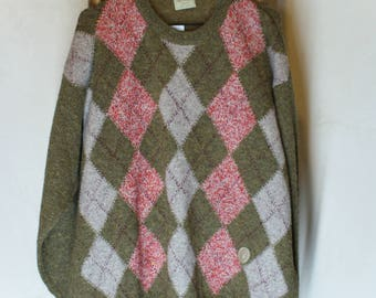 Sale • vintage Trussardi knitted sweater for men, knitwear jumper 90s, wool windowpane checked pullover cardigan, green pink gray, size L