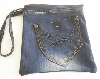 bag, pouch in blue jeans for men