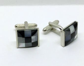 stainless steel mother pearl cufflinks #181
