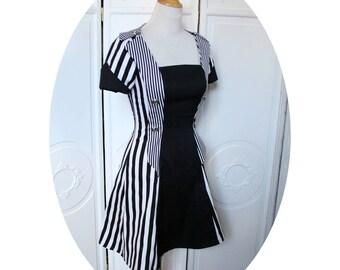 Pompadour dress, short dress in black and white striped cotton dress short Bugle, black and white dress, steampunk black and white striped dress
