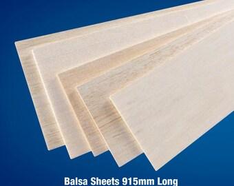 """Balsa Wood Sheet 36"""" (915mm) Long x 4"""" (100mm) Wide - Various Thickness"""