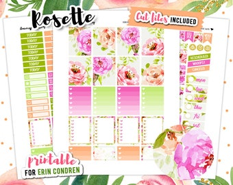Planner Stickers, Spring Stickers, Rose Stickers, Floral Planner Stickers, Printable Stickers, Erin Condren Vertical Planner