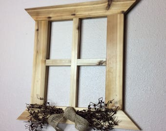 Primitive Wall Decor Handmade Cedar Window Frame Country Rustic Decor Home  And Living Living Room Decor