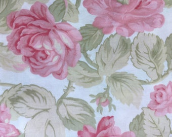Quilting Cotton Paris Flea Market by 3 Sisters.  Cream background with soft pastel roses.