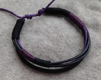 man made adjustable hand gift black Purple Leather Bracelet