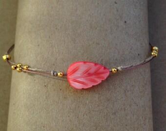 filigree Pearl linen bracelet handmade pink red gold beige