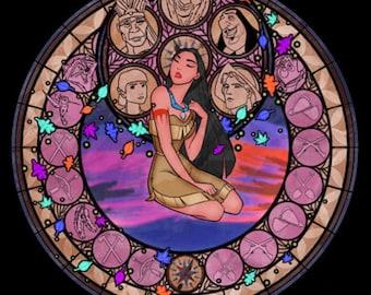 Pocahontas cross stitch digital Pattern medallion stained glass kingdom hearts