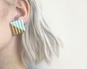 Large Turqoise & Gold Geometric Earrings