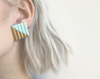 Large Turqoise & Gold Geometric Earrings