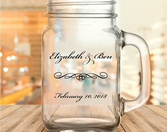 Custom Classic Script Personalized Wedding Favor Mason Jars