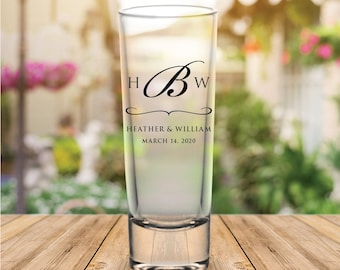 Custom Monogram Tall Wedding Favor Shot Glasses