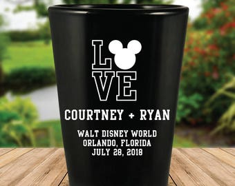 "Custom Disney Themed ""Love"" Wedding Favor Black Shot Glasses"