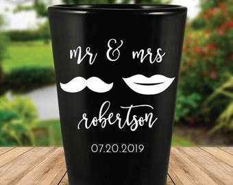 "Custom ""Mr. & Mrs."" Black Wedding Favor Shot Glasses"