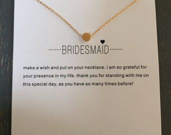 Cute gold bridesmaid necklace. The perfect present for a deserving bridesmaid.