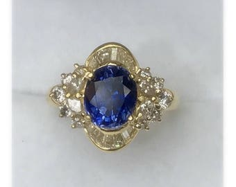 Ceylon Sapphire diamond ring, 2.44ct oval shape in 18k gold, engagement ring.                FREE SHIPPING!