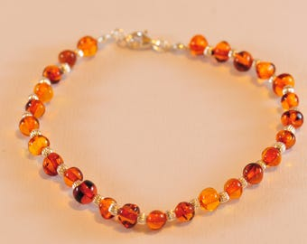 Bracelet in 925 sterling silver and natural amber stones