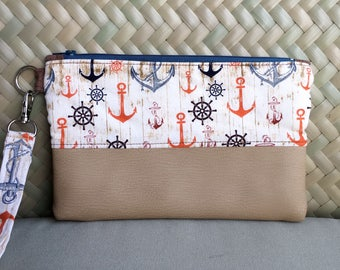 JeNoelle Anchors Away Wristlet Clutch
