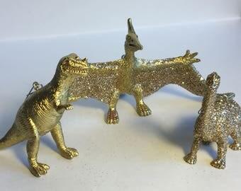Gold Dinosaur Ornament Set  (3)