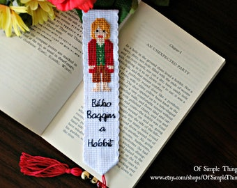 The Hobbit/LOTR Bilbo Baggins Character Bookmark ~ Bilbo Baggins A Hobbit Cross Stitch Bookmark - Cross Stitched Bilbo Baggins Bookmark