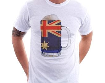 Australia Country Flag Beer Mug Tee, Home Tee, Country Pride, Country Tee, Beer Tee, Beer T-Shirt, Beer Thinkers, Beer Lovers Tee, Fun Tee