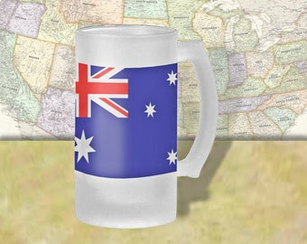 Australia Flag Beer Mug, Beer Stein, Country Flag, Country Pride, Beer Glass, 16 oz., Frosted Mug, Beer Thinkers, Beer Lovers, Cold Beer
