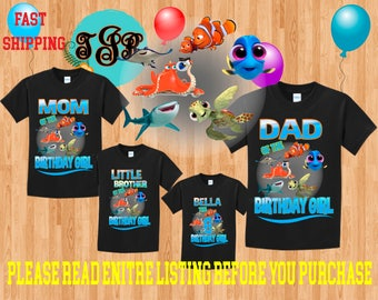FINDING DORY Nemo Girl birthday Family BLACK Theme Shirts Vacation Long Sleeve Short Sleeve Tank tops Toddler Tshirt disney