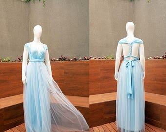 Blue Convertible Maxi Dress, Tulle Bridesmaid Infinity Dress, Tutu Transformer Dress