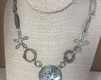 """FREE SHIPPING   Handcrafted mixed metals necklace industrial choker 925 Sterling silver Copper aged patina 15"""" L"""