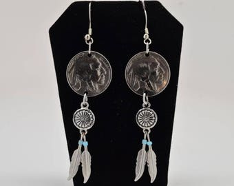 Buffalo Nickel Earrings with beads and feathers