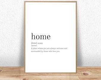 Home Definition, Printable Wall Art, Home Print, Home Poster, Funny Home Quote, Home Printable, Home Lover Gift, Home Wall Art, Wall Decor