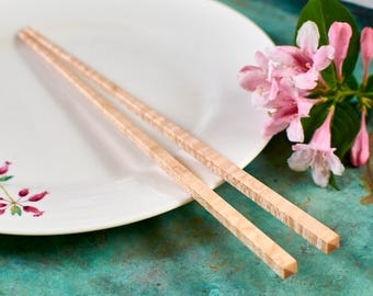 Hardwood Chopsticks - Handmade from New England Curly Maple