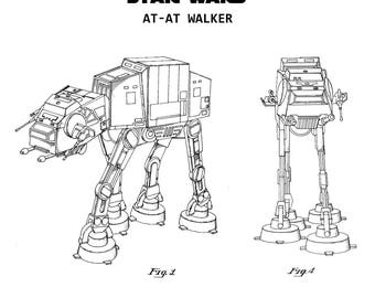 Star Wars Patent Print AT-AT Imperial Walker – Acrylic Desk Art – Stand Up Decor – Star Wars Home Desk Decor
