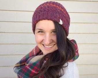 Goose Goose Beanie in Harvest Sunrise Colorway - Crochet Slouchy Hat