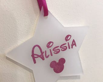 Disney inspired personalised christmas tree decoration