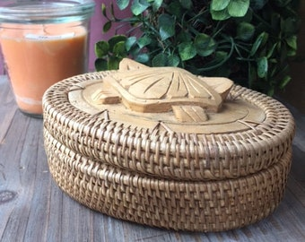oval box from the 70's rattan