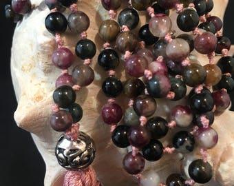 Mala Necklace 108 with Tassel Handmade Watermelon Pink Tourmaline 6mm Round Gemstone Bead Silk Tassel /Yoga Necklace / Magenta