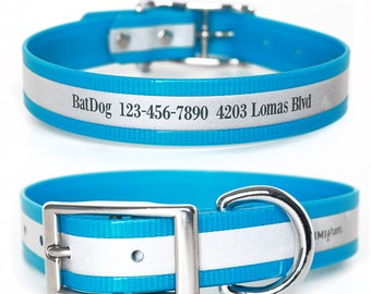 Blue Reflective Waterproof Personalized Dog Collar -- Laser Engraved Reflective Waterproof Blue Dog Collar
